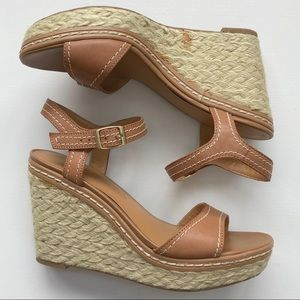 Franco Sarto Tan Wedge Heels Size 7.5 S16